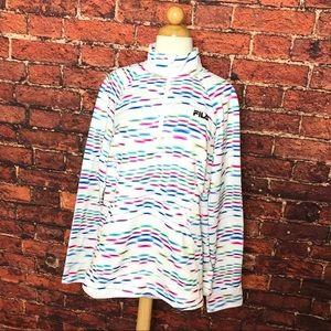 FILA Multi Color Quarter Zip Pullover Sweater
